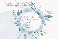 Blue Watercolor Floral Clipart Frame Product Image 1