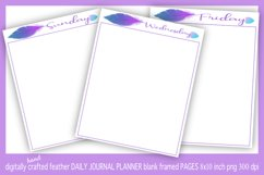 Abstract Blue & Purple Feather Daily Journal Planner Framed Product Image 2