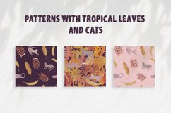 Seamless watercolor pattern with tropical leaves and cats Product Image 1