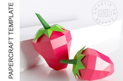 PDF Template of 3d Strawberry fruit papercraft /lowpoly SVG Product Image 3