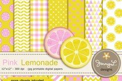 Pink Lemonade Digital Papers and Lemon Clipart Product Image 1