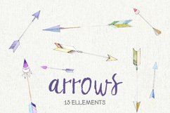 Arrow Clipart. Painted Watercolor Clipart. Hearts and Arrows Product Image 2