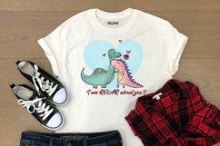 Cute Dinosaur Couple PNG, Valentine Bundle Product Image 5