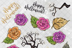 Halloween Flowers Clipart, Roses Clip Art, Stickers PNG Pack Product Image 2