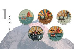 Outdoor Travel. Set of twelve colorful round logos. Product Image 3