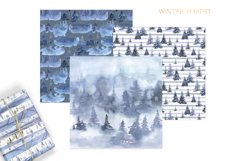Watercolor Winter Forest Digital Papers Product Image 6