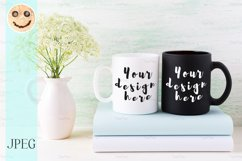 White and black mug mockup with books and white flowers Product Image 1