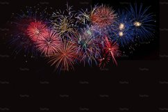 Golden, blue and red fireworks over night sky Product Image 1