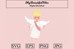 Angel SVG - Cartoon Angel SVG, EPS, PNG and JPG Product Image 1
