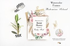 Watercolor tropical leaves and pampas grass geometric frames Product Image 5