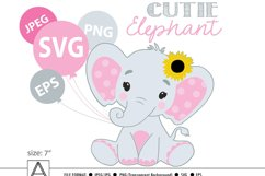Pink and grey baby elephant with sunflower, svg, png, vector Product Image 1