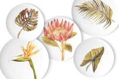 Watercolor tropical boho floral clipart. Flowers and leaves Product Image 4