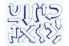 Arrow collection blue color.Hand drawn doodle. Product Image 1