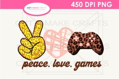 Peace Love Games Sublimation Design for T-shirts Gaming Tee Product Image 6