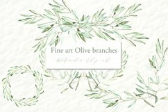 Olive branches. Watercolor clipart. Product Image 3
