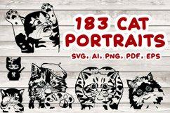 183 Cat Portraits Illustrataions SVG, PNG, eps, ai, pdf Product Image 1