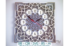 C12 - Laser Cut Wall Clock DXF, Mandala Clock, Wooden Clock Product Image 1