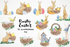 watercolor easter bunny png, rabbit easter basket, bird nest Product Image 1
