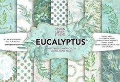 Watercolor EUCALYPTUS digital paper pack Product Image 1