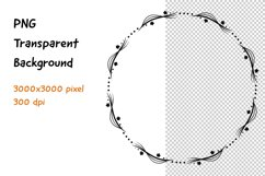Wreath Frame Black and White PNG and JPEG Product Image 1