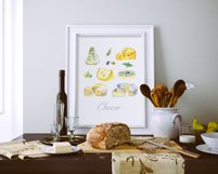 Milk and cheese - watercolor clipart Product Image 6