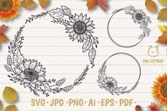 Sunflower Fall Wreath svg, floral monograms mini bundle Product Image 1