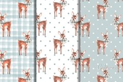 Set of 5 cute watercolor patterns with fawns Product Image 1