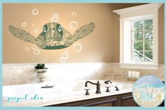 Sea Turtle Mandala Swimming with Bubbles SVG Product Image 2