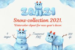 Christmas snow collection with bulls. Watercolor clipart Product Image 1