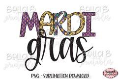 Mardi Gras Sublimation Design, Doodle Letters Product Image 1