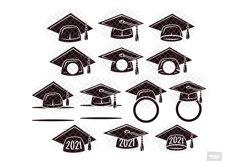 Graduation SVG Monogram Hat Cap in SVG, DXF, PNG, EPS, JPEG Product Image 2