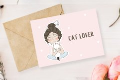 Cute girl with cat. Stickers. Part 1 Product Image 5
