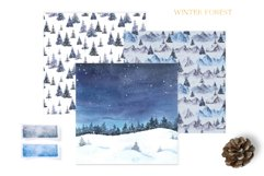 Watercolor Winter Forest Digital Papers Product Image 4
