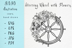 Boho illustration / Steering wheel with flowers Product Image 1