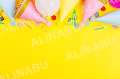 Birthday background with party hats and confetti Product Image 1