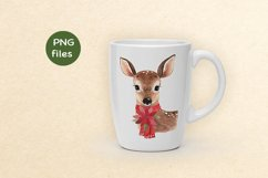 watercolor illustration of cute christmas deer with red scar Product Image 2