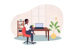 Stretching in chair at workplace 2D vector web banner Product Image 1