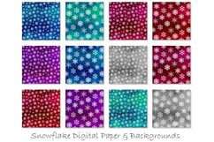 Snowflake Backgrounds - Winter Snow Digital Paper Product Image 2