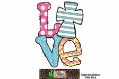 Easter Cross Love Dye Sublimation PNG Product Image 1