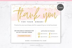 Thank You Card for Canva | Printable | Pink & Gold Product Image 1