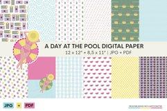 Summer digital scrapbbok papers | Pool decorative wallpaper Product Image 1