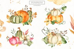 Watercolor Pumpkins. Clipart, cards, seamless patterns Product Image 10