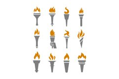 Fire torch with flame flat icons set Product Image 1