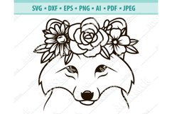 Wolf SVG file, Wolf with Flower Crown SVG, Png, Eps, Dxf Product Image 1