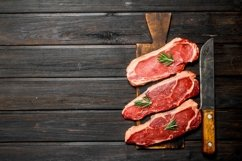 20 Photos Raw beef steaks on cutting Board. Backgrounds Product Image 5