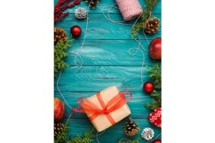 Christmas dark green frame background with pine cones Product Image 1