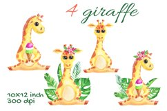 Cute Giraffe Watercolor Tropical Safari, African, Jungle Product Image 2