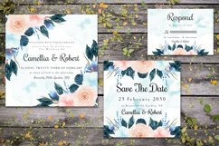 Gorgeous Blue And Peach Flowers Wedding Invitation Suite Product Image 3