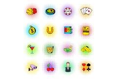 Gambling icons set, comics style Product Image 1