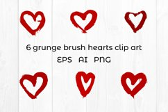 Hearts digital paper. Grunge heart clipart. Heart pattern Product Image 4